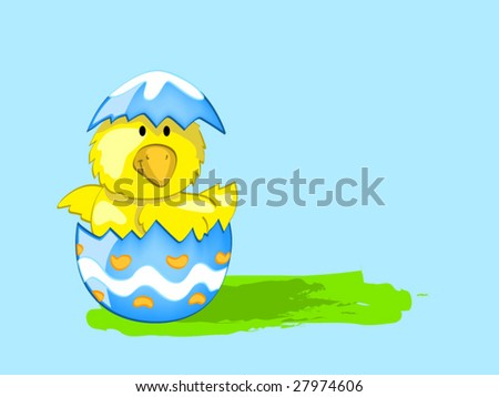 Chick in egg (editable layers) - stock vector