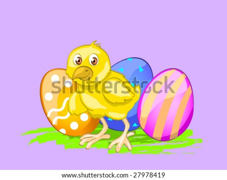 chick with eggs (editable layers) - stock vector