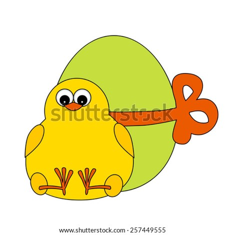 chick with green egg - stock vector