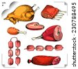 Chicken and Chicken leg, Gammon, Ribs, Sausage, Steaks. Cartoon illustration. Meat set. Graphics  picture. Engraving style. Color image. Eps 8 - stock photo