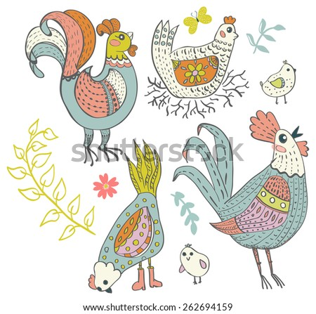 Chicken and rooster cartoon, cute illustration - stock vector