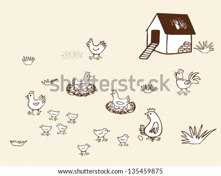 Chicken bio farm. Hand drawn vector illustration. - stock vector