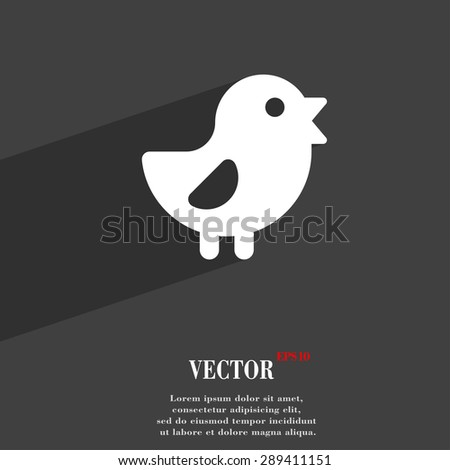 chicken, Bird icon symbol Flat modern web design with long shadow and space for your text. Vector illustration - stock vector