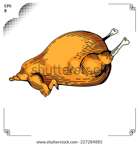 Chicken cartoon illustration. Multicolor  picture. Engraving style. Eps 8 - stock vector