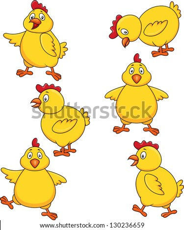 Chicken cartoon set - stock vector