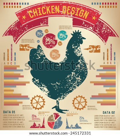 Chicken design on old paper background,info graphic,grunge vector - stock vector