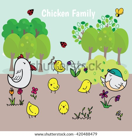 Chicken Family. Funny cartoon for kids. Vector   - stock vector