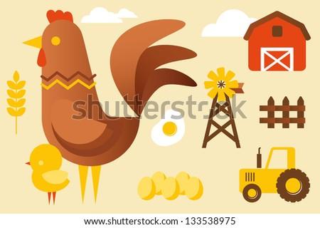 Chicken farm collection - stock vector