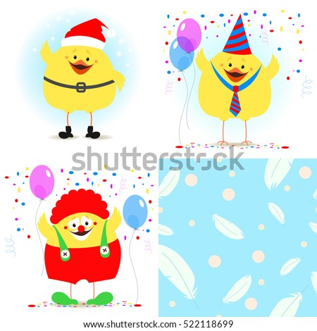 Chicken festive set. Chicken Santa Claus, a clown. Seamless texture with feathers. Vector