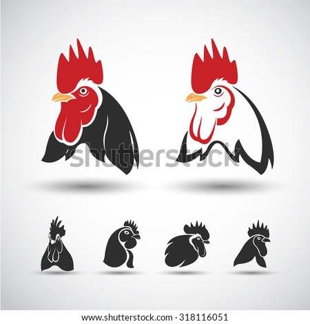 Chicken head icon isolated on white background. Vector illustration - stock vector