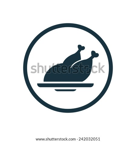 chicken icon, round shape, isolated on white background  - stock vector