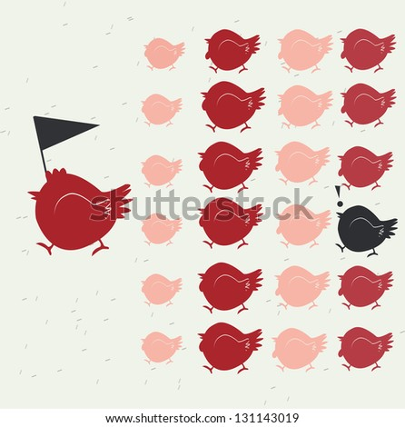 Chicken leadership and black chicken different from other, teamwork conceptual - stock vector