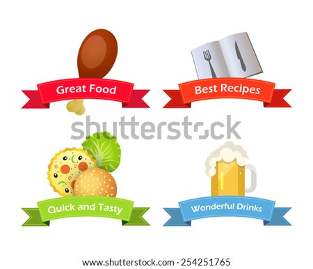 Chicken Leg, Pizza, Hamburger, Greens, Beer and Recipe Book, Vector Icons for Culinary Shop or Website. Images of Food with Captions. - stock vector