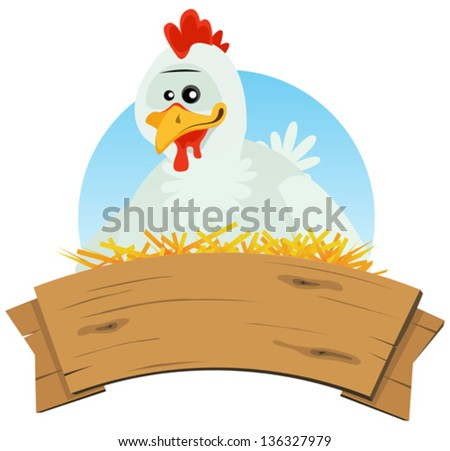 Chicken Nest And Wood Banner/ Illustration of a cute cartoon chicken hen character nest setting farm eggs with wood blank empty banner for rural restaurant, agriculture or easter holidays background - stock vector