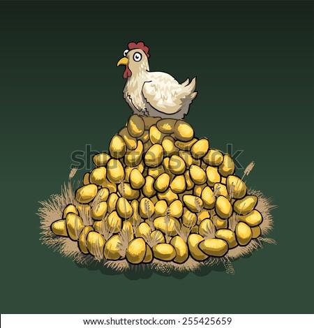 Chicken on top of big pile of golden eggs, vector illustration - stock vector