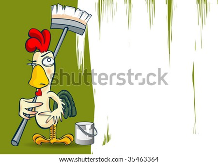 Chicken Painting Job - stock vector