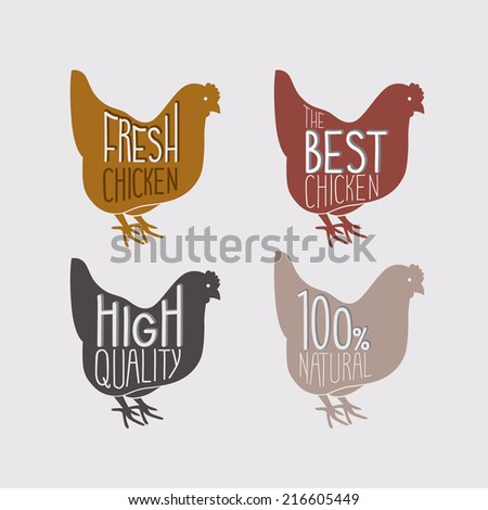 Chicken retro set. Vector illustration. - stock vector