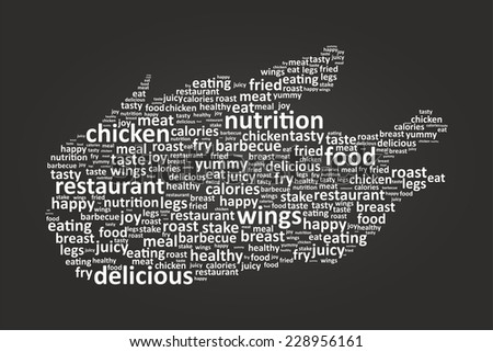 Chicken Shape Food Word Cloud On Blackboard - stock vector