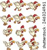 Chicken sprites with running,idle and flying animations. Vector clip art illustration with simple gradients. Each on a separate layer. - stock vector