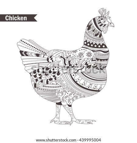 Chicken Zentangle Style Coloring Book For Adult Antistress Pages Hand Drawn