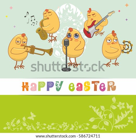 Chickens musicians greet happy easter vector stock vector 586724711 chickens musicians greet with a happy easter vector card m4hsunfo