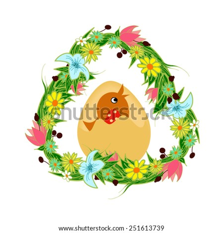 Chicks in flower frame. Happy Easter decoration - stock vector