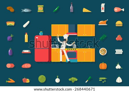 Chief Cook Food and Dish Room Kitchen Furniture House Interior Icons Symbols Set Flat Design Vector Illustration - stock vector