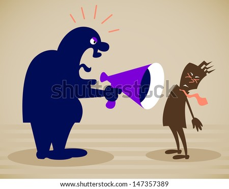 chief shouts at the subordinate. Vector illustration on a background - stock vector