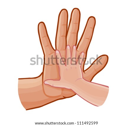 child and father's hand, family concept ,vector illustration,isolated on white - stock vector