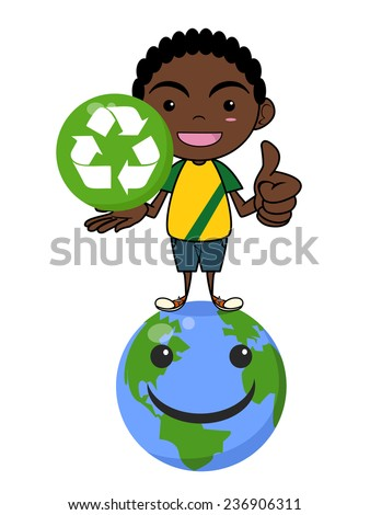 Child and recycling symbol, caring planet, isolated vector illustration - stock vector