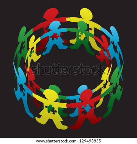 Child Autism Circle of Hope Vector Art - stock vector