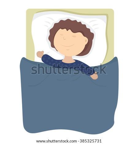 child boy sleeps, smiling in his sleep. Healthy sleep without nightmares - stock vector