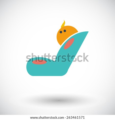 Child car seat. Single flat icon on white background. Vector illustration. - stock vector