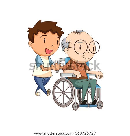 Child caring old man, vector illustration
