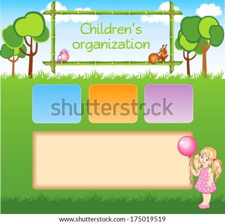 Child cartoon template for web site - stock vector