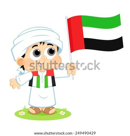 Child Celebrates United Arab Emirates National Day  - stock vector
