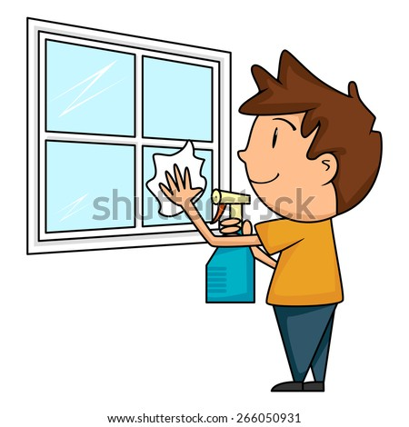 Child cleaning window, vector illustration - stock vector