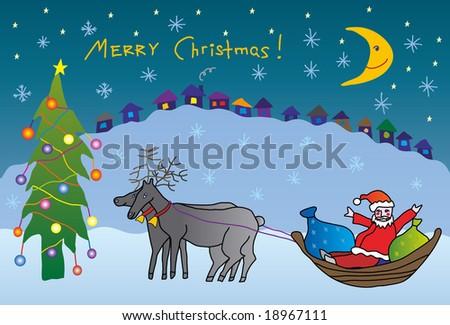 child drawing christmas postcard - stock vector
