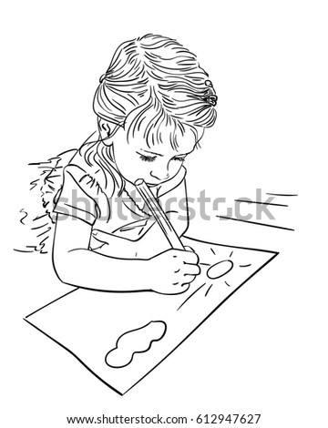 child drawing cloud and sun on paper while lying on floor vector sketch hand