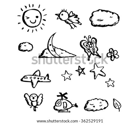 child drawing on sky images vector line art.