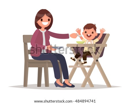 Child Feeding. Mother feeds the baby sitting in the highchair. Vector illustration of a flat design