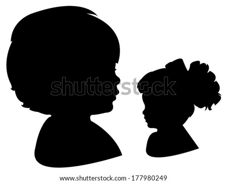 child head and her doll head silhouette vector