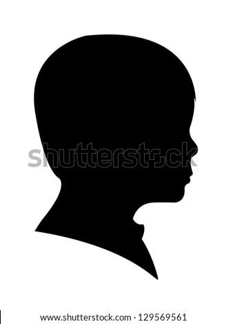 child head silhouette vector - stock vector