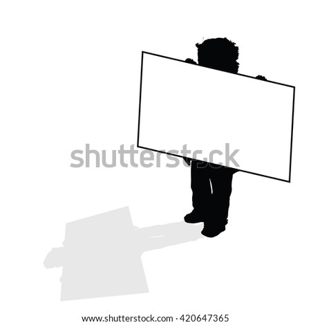 child holding card silhouette illustration in black color - stock vector