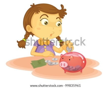 Child illustration on a white background - stock vector