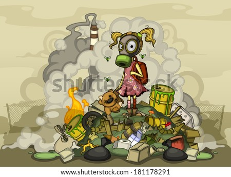 Child in a gas mask standing on a pile of garbage - stock vector