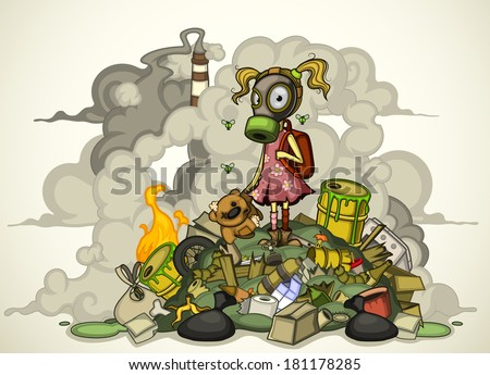 Child in a gas mask standing on a pile of garbage. Isolated - stock vector
