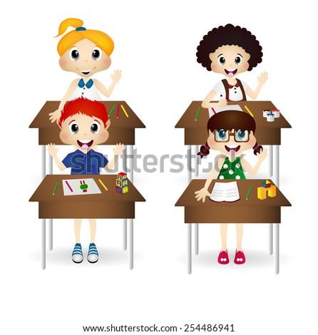 Child in classroom vector design - stock vector