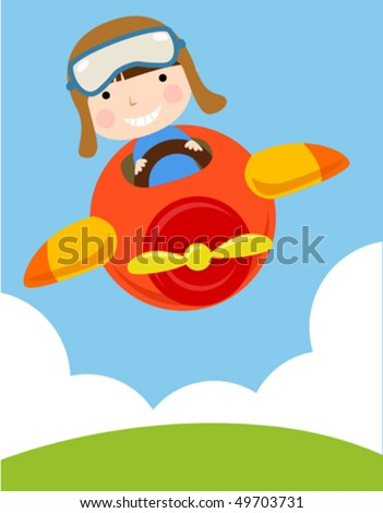 Child in Plane - stock vector