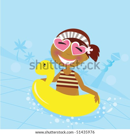 Child in water pool. Cute girl in water pool. Vector Illustration. - stock vector